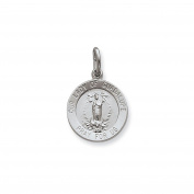 Sterling Silver Antique Finish Engravable Round Our Lady Of Guadalupe Medal Charm Pendant Length 22mm