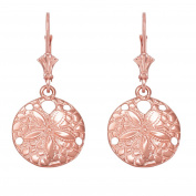 14k Rose Gold Sea Star Sand Dollar Leverback Earrings