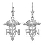 14k White Gold Caduceus RN Registered Nurse Leverback Earrings
