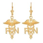 14k Yellow Gold Caduceus RN Registered Nurse Leverback Earrings
