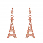 14k Rose Gold Paris Eiffel Tower Dangle Earrings