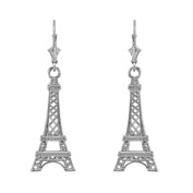 14k White Gold Paris Eiffel Tower Dangle Earrings