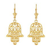 14k Yellow Gold Jewish Hamesh Hand Filigree Hamsa Earrings