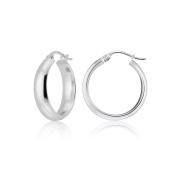 Hoops & Loops Sterling Silver Half Round Design High Polished Hoop Earrings