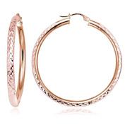 Hoops & Loops Rose Gold Flash Sterling Silver 3mm Diamond-Cut Round Hoop Earrings, All Sizes