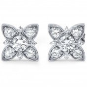 1 ct Floral Starburst Diamond Studs 14K White Gold
