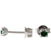 18K Solid Gold Unique Celtic Earrings For Women Set With Emeralds