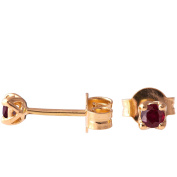 18K Solid Gold Unique Celtic Earrings For Women Set With Rubies