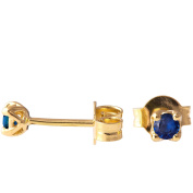 18K Solid Gold Unique Celtic Earrings For Women Set With Sapphires