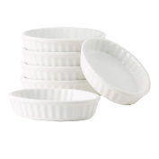 Tuxton Home THBWK0502-6B Duratux Oval Fluted Creme Brulee (Set of 6), 150ml, White Porcelain