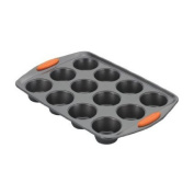 Rachael Ray Yum-o! Nonstick Bakeware 12-Cup Oven Lovin' Muffin and Cupcake Pan, Grey with Orange Handles