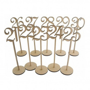 Wedding Table Numbers - ROSENICE Wooden Table Numbers with Holder Base 21-30,10pcs