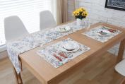 Hmlover Pastoral Wind Cotton Linen Table Runner with Tassel Big Black Flower 1Pcs
