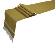 Darling Souvenir Natural Burlap Jute Wedding Table Runner With Frill 30cm x 270cm Rustic Party Decoration