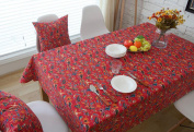 Hmlover Chinese Ethnic Style Linen Tablecloth without Lace Red Morning Glory 1Pcs