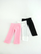 White Plain, Plain Black, and Pink Plain Leggings Set of 3 | Fits 46cm American Girl Dolls, Madame Alexander, Our Generation, etc. | 46cm Doll Clothes