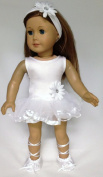 46cm Doll Clothes fits American girl Doll White Ballerina Dress, Headband, & Ballet Slippers