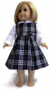46cm Doll Clothes fits American girl Doll White Long Sleeved Blouse & Black & White Plaid Jumper