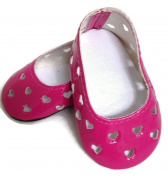46cm Doll Shoes fits American girl Pink with Heart Cutouts Dress Shoes