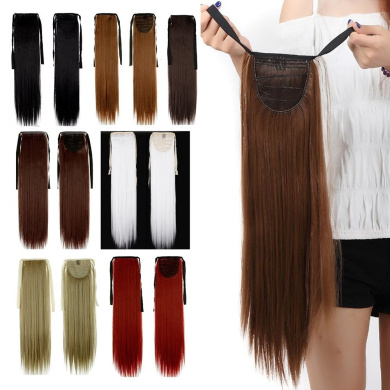 Binding Tie up Synthetic Ponytail Heat Resistant One Piece Drawstring Pony Tail Long Straight Soft Silky for Women Lady Girls 60cm / 60cm