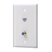 IBL-1 Cat5e keystone Ethernet Port and 1 Coax F Type keystone Wall Plate White