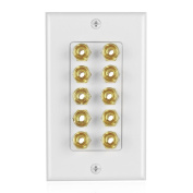 TNP Home Theatre Speaker Wall Plate Outlet - 5 Speaker Sound Audio Distribution Panel Gold Plated Copper Banana Plug Binding Post Connector Insert Jack Coupler