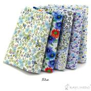 "RayLineDo® 5X Different Pattern Light Blue 100% Cotton Poplin Fabric Fat Quarter Bundle 46 x 56cm ( Appox 18"" x 22"") Patchwork Quilting Fabric"