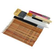 Georgie Sketching Wood Pencil Set for Drawing Beginners Econimical Artist Box Set in H 2H 3H HB B 2B 3B 4B 5B 6B 7B 8B