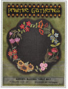 Garden Blooms Table Mat Felted Wool Pattern 60cm Round Penny Rug