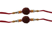 Set of Two Rudraksha Rakhi Thread. Raksha bandhan Gift for your Brother