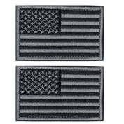 2 Pieces Tactical USA Flag Patch -Black & Grey- American Flag US United States of America Military Uniform Emblem Patches