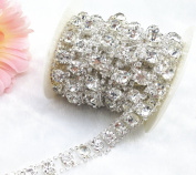 1 Yard 2 Rows 2.5mm Costume Applique Clear Crystal Rhinestone Silver Chain Sew On Rhinestone Wedding Cake Decoration