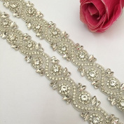 Rhinestone Applique, 1 yard of Shinning Dress Embellishment Bling Bling Decorative Rhinestone Trim~245 Ivory Ribbon