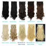 Clip in Hair Extensions Synthetic #4 Medium Brown Full Head Hairpieces Japanese Kanekalon Fibre Thick Long Wavy Curly Soft Silky 8pcs 18clips for Women Fashion and Beauty 43cm / 43cm