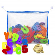 36 Piece Set Foam Bath Alphabet Letters and Numbers 0 - 9 , with Mesh Bag Bath Toy Organiser. The Best Educational Bath Toys. Non Toxic EVA Foam. Bath Time Fun