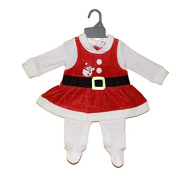 Christmas All In One Dress. Cotton Polka Dot and Red and White Velour