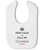 Keep Calm and Call My Grandad with cute hearts - Baby Bib