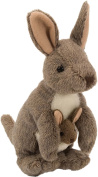 Plush Toy Stuffed Animal Kangaroo with Baby in Pouch stuffed toy Approx. 20 cm