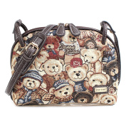 Minetom Women Vintage Canvas Shoulder Satchel Messenger Cross Body Lovely Duke Bear Printing Travel Handbag Casual Bag