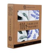 Organic Muslin Swaddle Blanket - Margaux & May - X Large Swaddling Blankets - Blue Fern & Green Feather