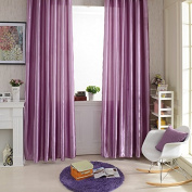 QHGstore New Rod Pocket Top Solid Colour Satin Curtain Panel Window Curtains Purple