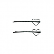 2 Barrettes Hair Pins Fine Twisted Heart 19 mm - Black Painted Metal
