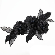 Beads4crafts 1 Black Applique With Crystals Beads Dressmaking Embellishment 285X140Mm Hl1051