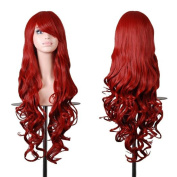 Kissparts Women Wigs 80cm Dark Red Wavy Cosplay Wig With Wig Cap and Comb