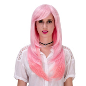 Sexy Central Parting Women Long Straight Synthetic Wigs Show Gradient Colour