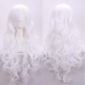 Kissparts 80cm Charming Long Wavy White Colour Curly Full Sexy Wig With Free Wig Cap and Comb