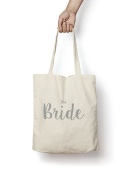 The Bride Tote Bag SILVER Natural Cotton Shopper Engagement Wedding Gift