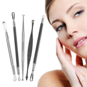 chiccharming 5 Pcs Blackhead Pimple Blemish Comedone Acne Extractor Remover Needles Kit Tool