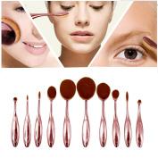 LA HAUTE 10Pcs Oval Makeup Brush Set Professional Soft Toothbrush Eyebrow Foundation Eyeliner Powder Blush Contour Lip Brushes Cosmetic Makeup Brushes Tool