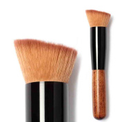 Kfnire Flat Angled Wooden Buffer Liquid Foundation/Powder/Contour/Bronzer Makeup Brush